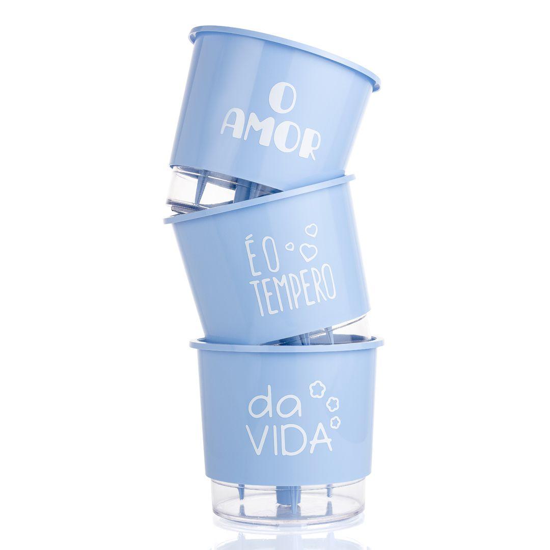 Kit 3 Vasos Autoirrigáveis Pequenos N02 12cm x 11cm O Amor é o Tempero da Vida Azul Serenity