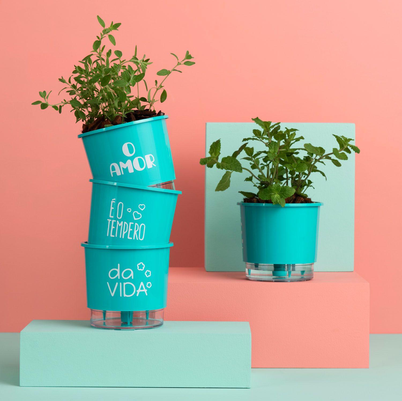 Kit 3 Vasos Autoirrigáveis Pequenos N02 12cm x 11cm O Amor é o Tempero da Vida Verde Raiz
