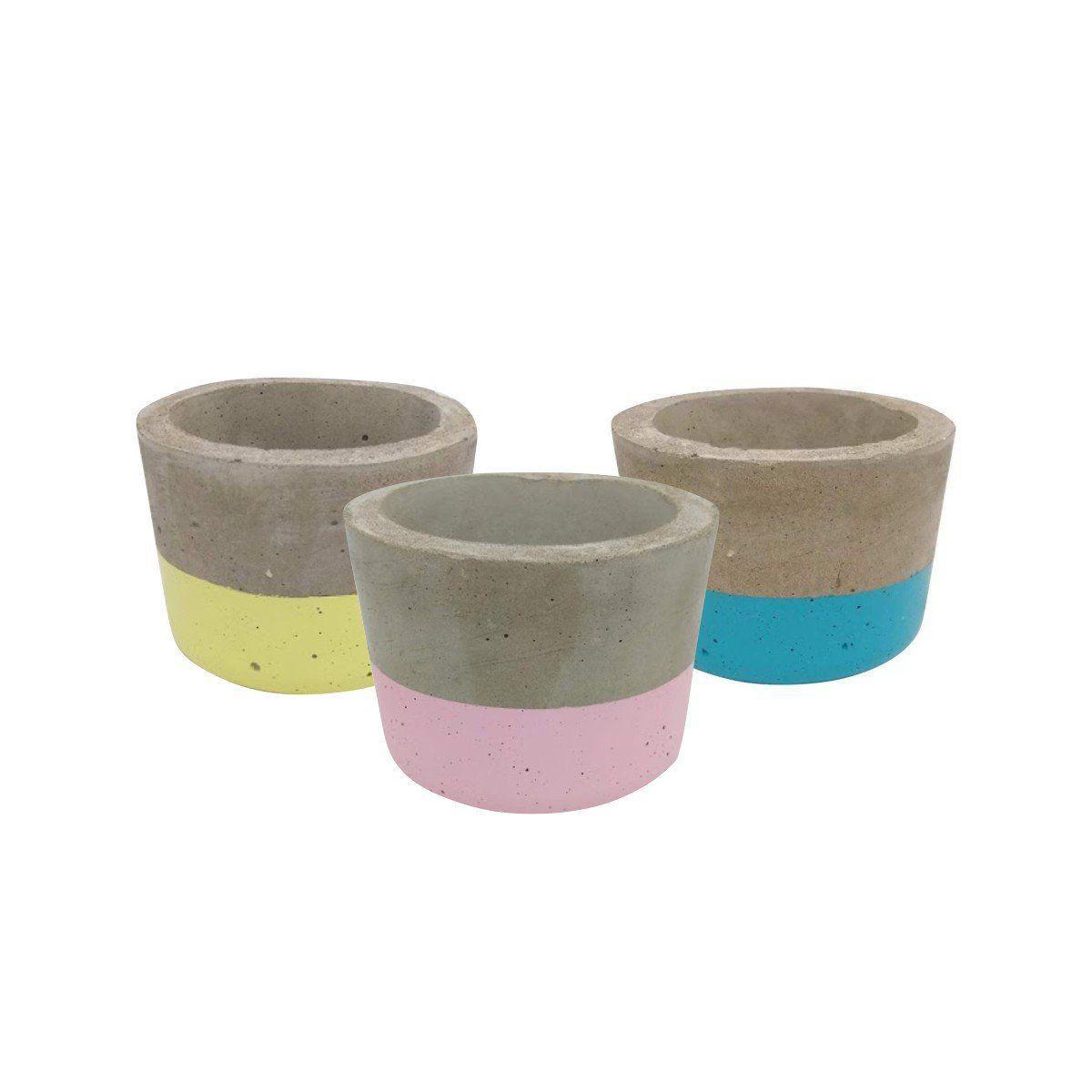 Kit 3 vasos de cimento 5,5cm x 8,5cm MD060606AMATRS