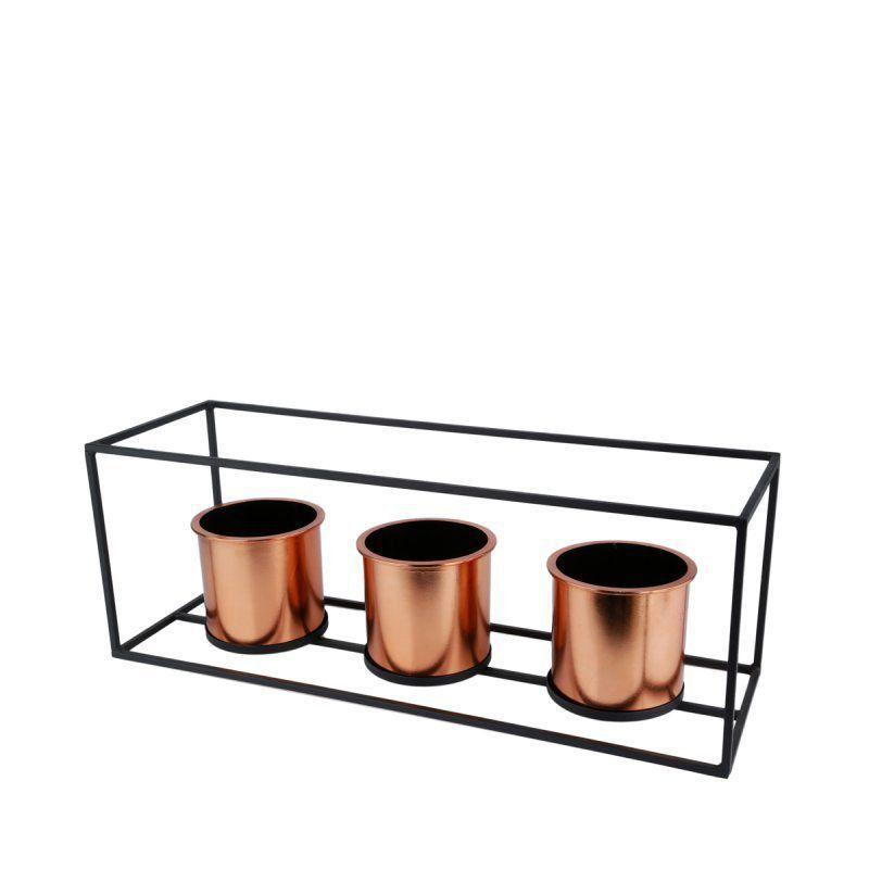 Kit 3 Vasos Geométricos Bronze com Suporte de Metal Retangular 18cm x 50cm - 40081