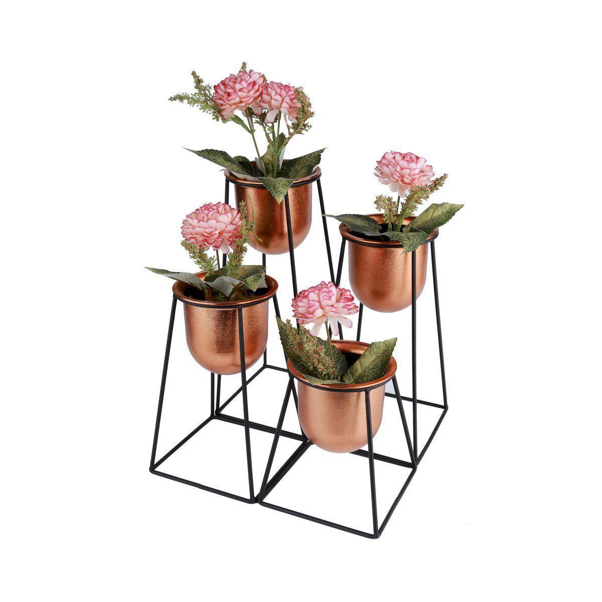 Kit 4 Vasos Geométricos Bronze com Suportes de Metal Pretos - 40076