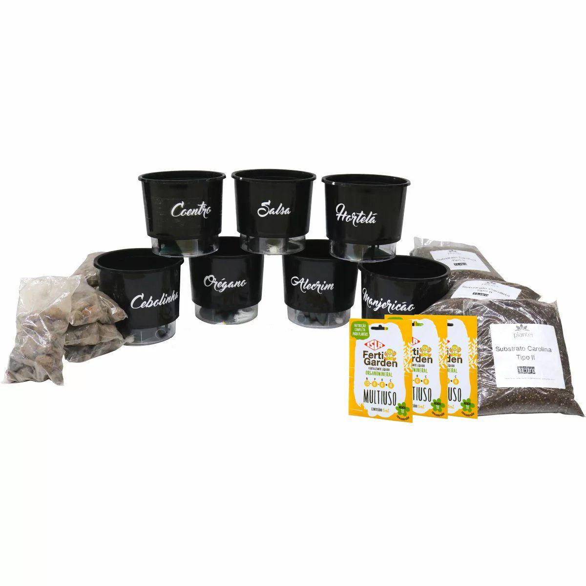 Kit 7 Vasos Autoirrigáveis Raiz N03 Gourmet + Substratos + Argila Expandida + Brinde