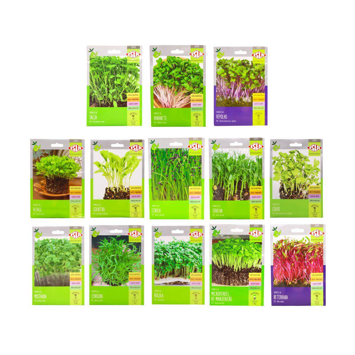 Kit com 13 envelopes de sementes para plantio dos Microverdes - Isla Superpak