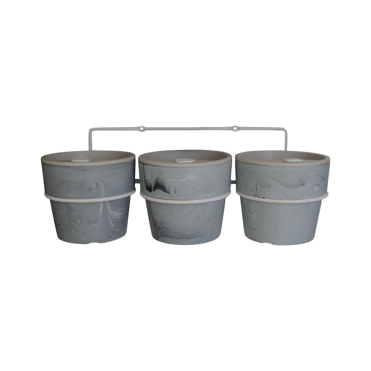 Kit com 3 Vasos Autoirrigáveis Concreto com Suporte + Plaquinhas Linha Plantar < Ou >
