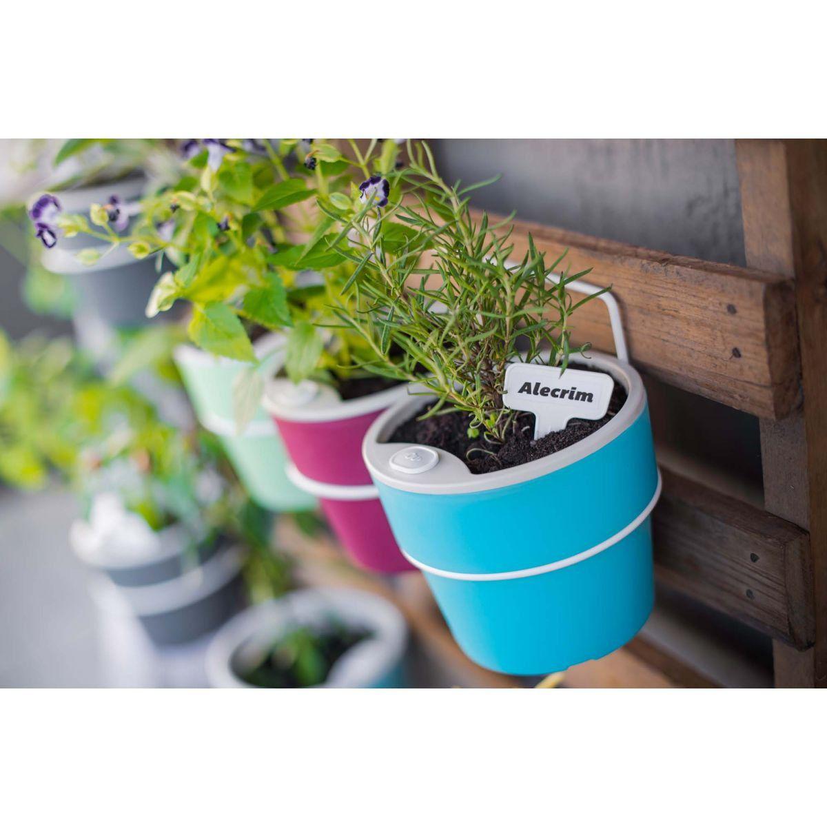 Kit com 3 Vasos Autoirrigáveis cor Chumbo com Suporte + Plaquinhas Linha Plantar < Ou >