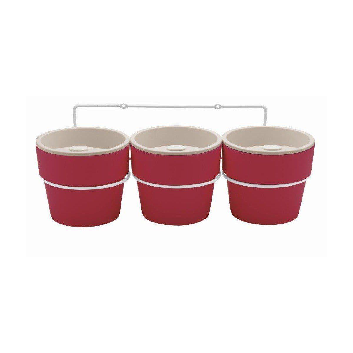 Kit com 3 Vasos Autoirrigáveis Marsala com Suporte + Plaquinhas Linha Plantar < Ou >