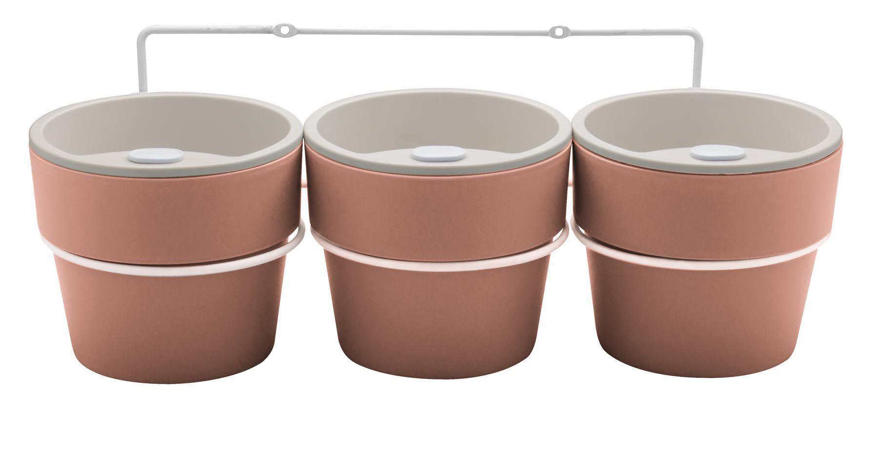 Kit com 3 Vasos Autoirrigáveis Terracota com Suporte + Plaquinhas Linha Plantar < Ou >