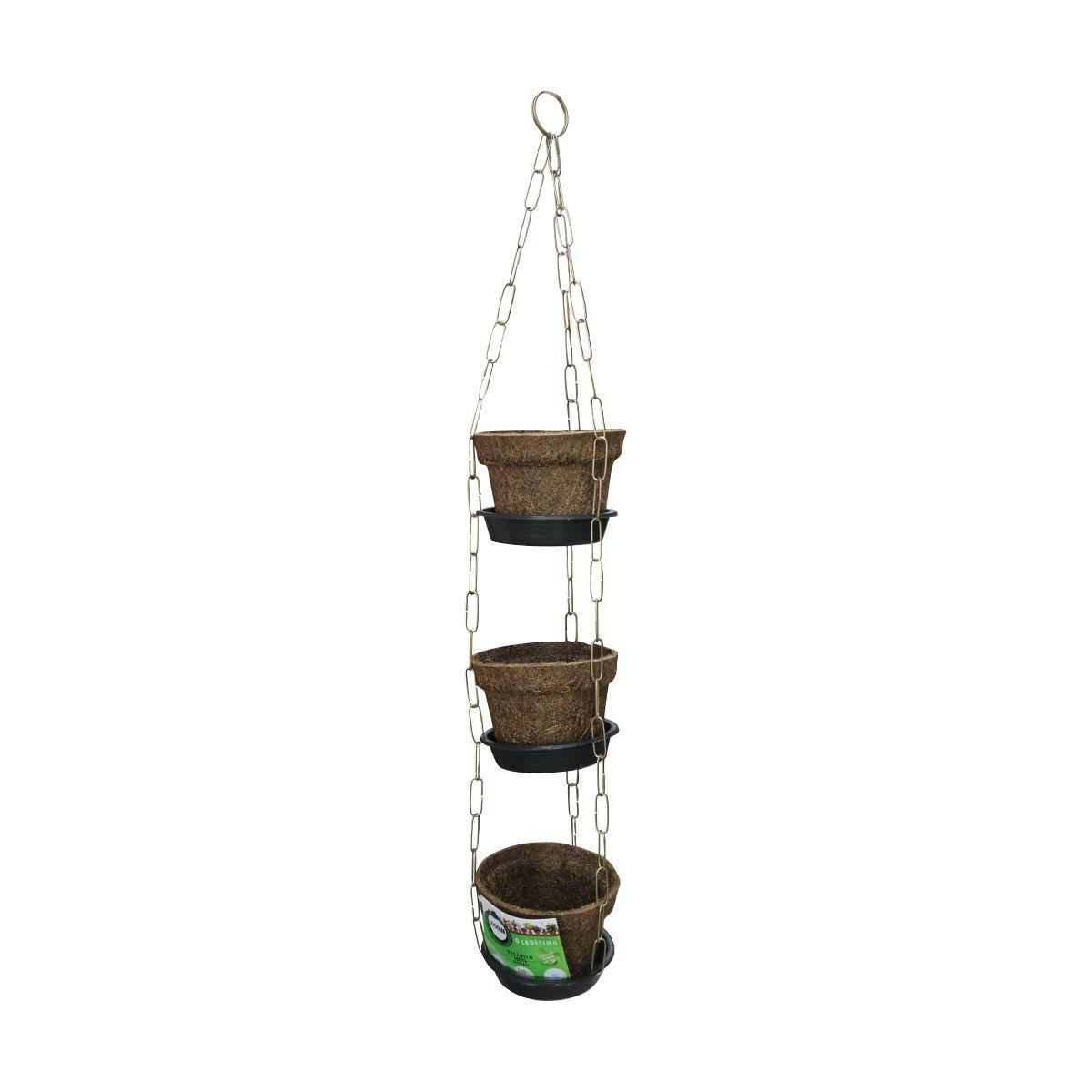 Kit com 3 Vasos de Fibra de Coco Nº 05 com prato e corrente COQUIM