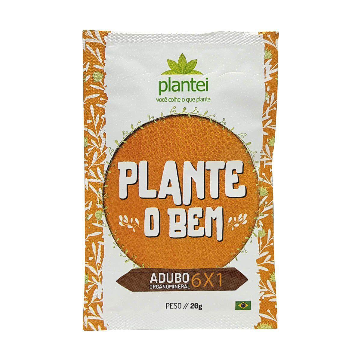 Kit com 50 sachês Adubo Plantei 6X1 sachê 20g - Fertilizante para todos os tipos de cultura