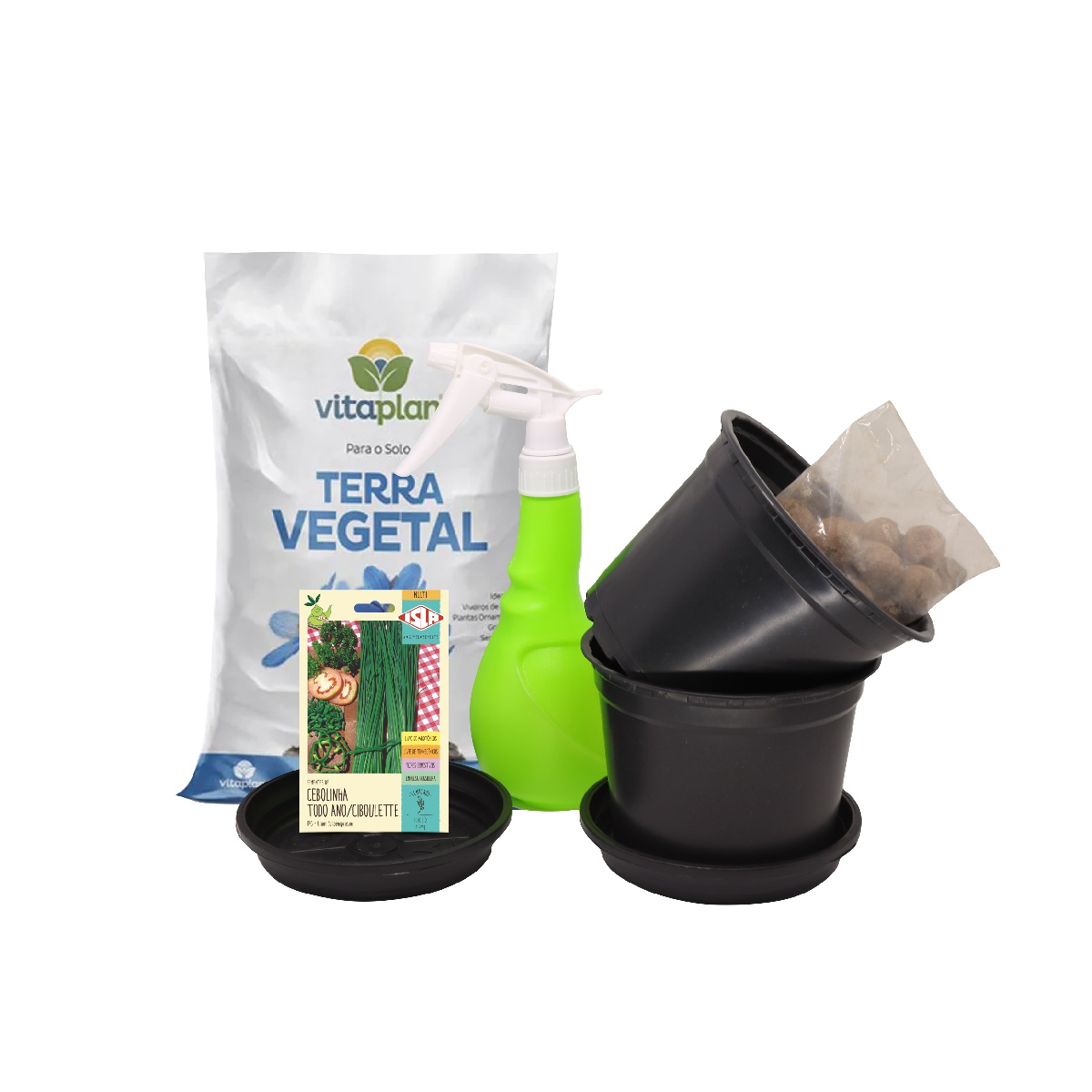 Kit Completo Horta em Vasos Cebolinha