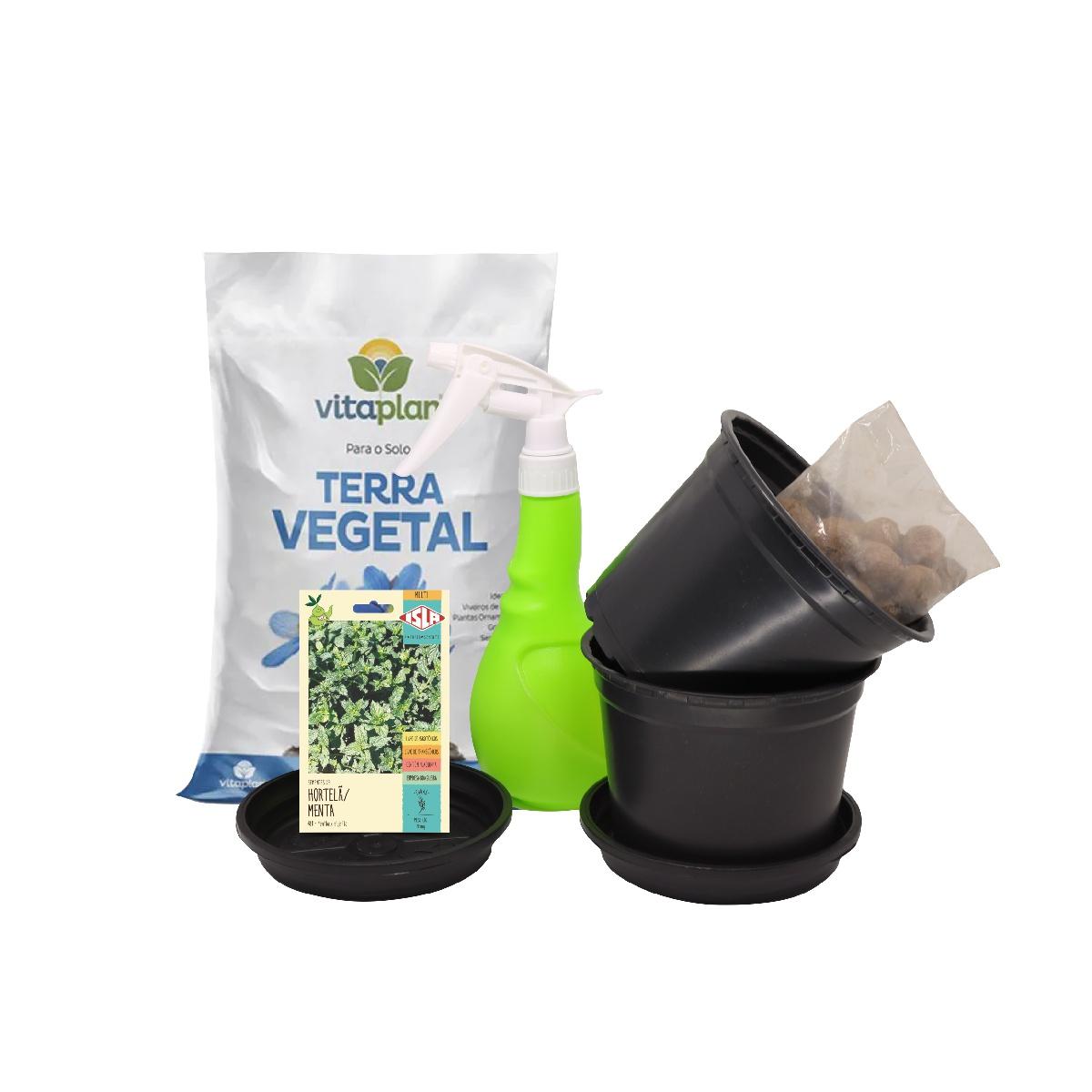 Kit Completo Horta em Vasos Hortelã