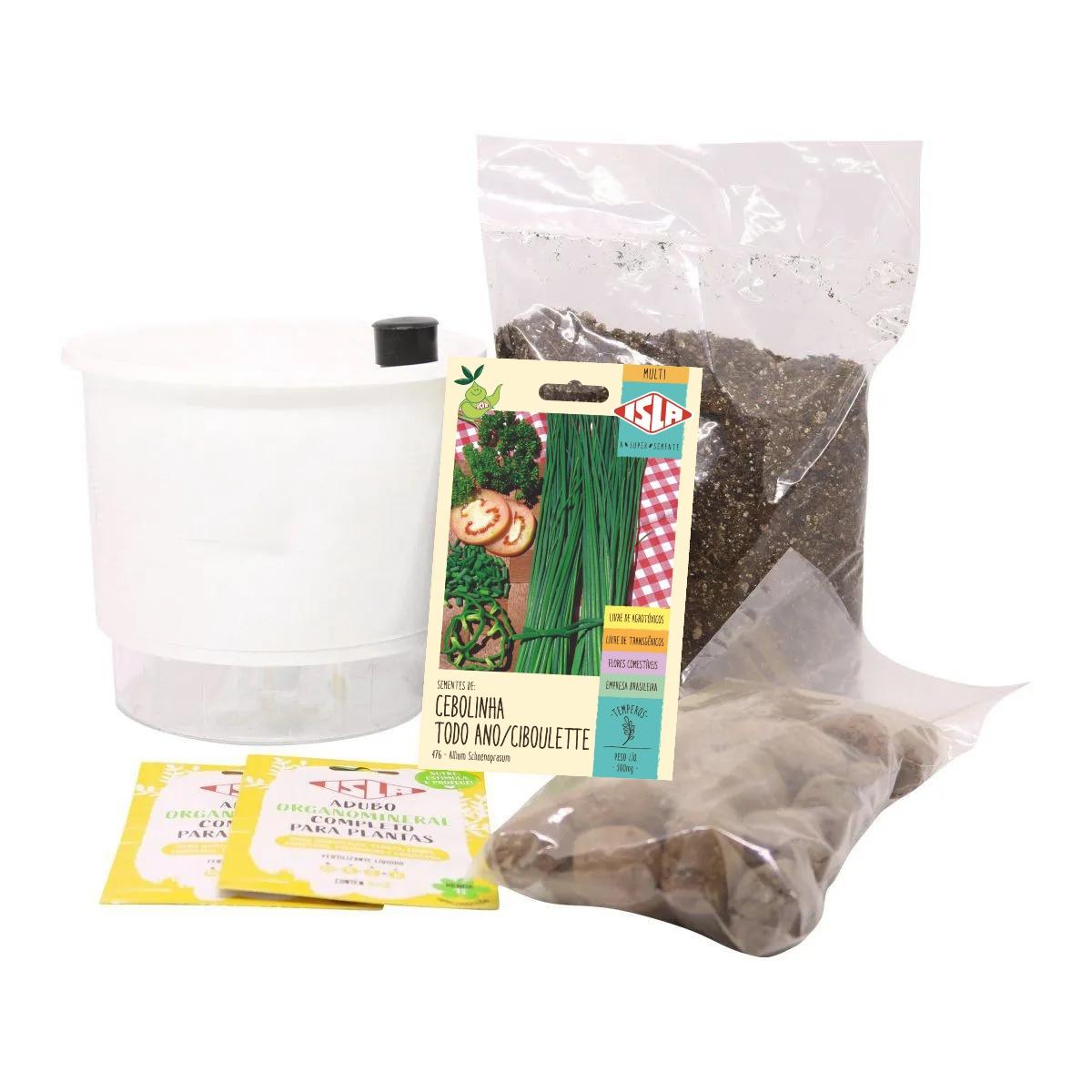 Kit Completo Inicial Branco: Meu Primeiro Plantio de Cebolinha + Manual de plantio