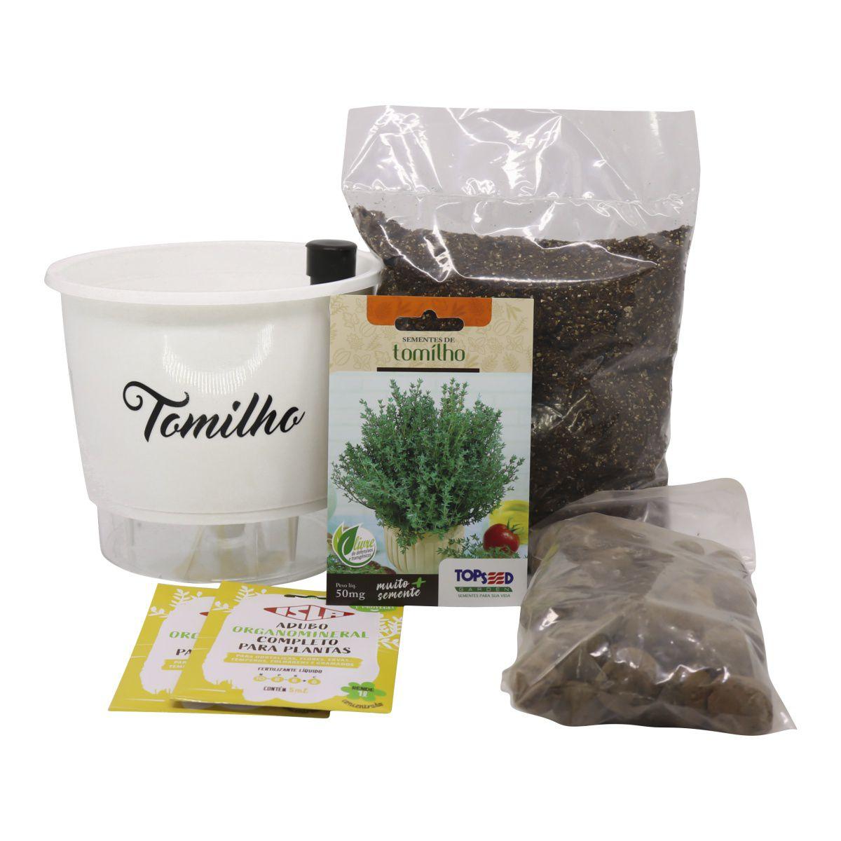 Kit Completo Inicial Branco: Meu Primeiro Plantio de Tomilho + Manual de plantio