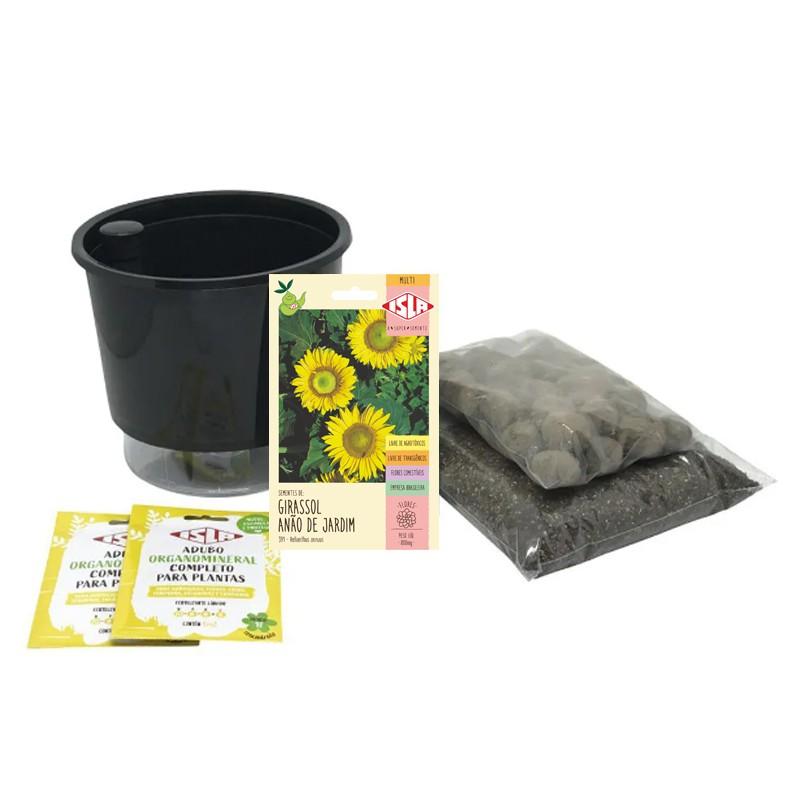 Kit Completo Inicial: Meu Primeiro Plantio de Girassol com Vaso Preto + Manual de plantio