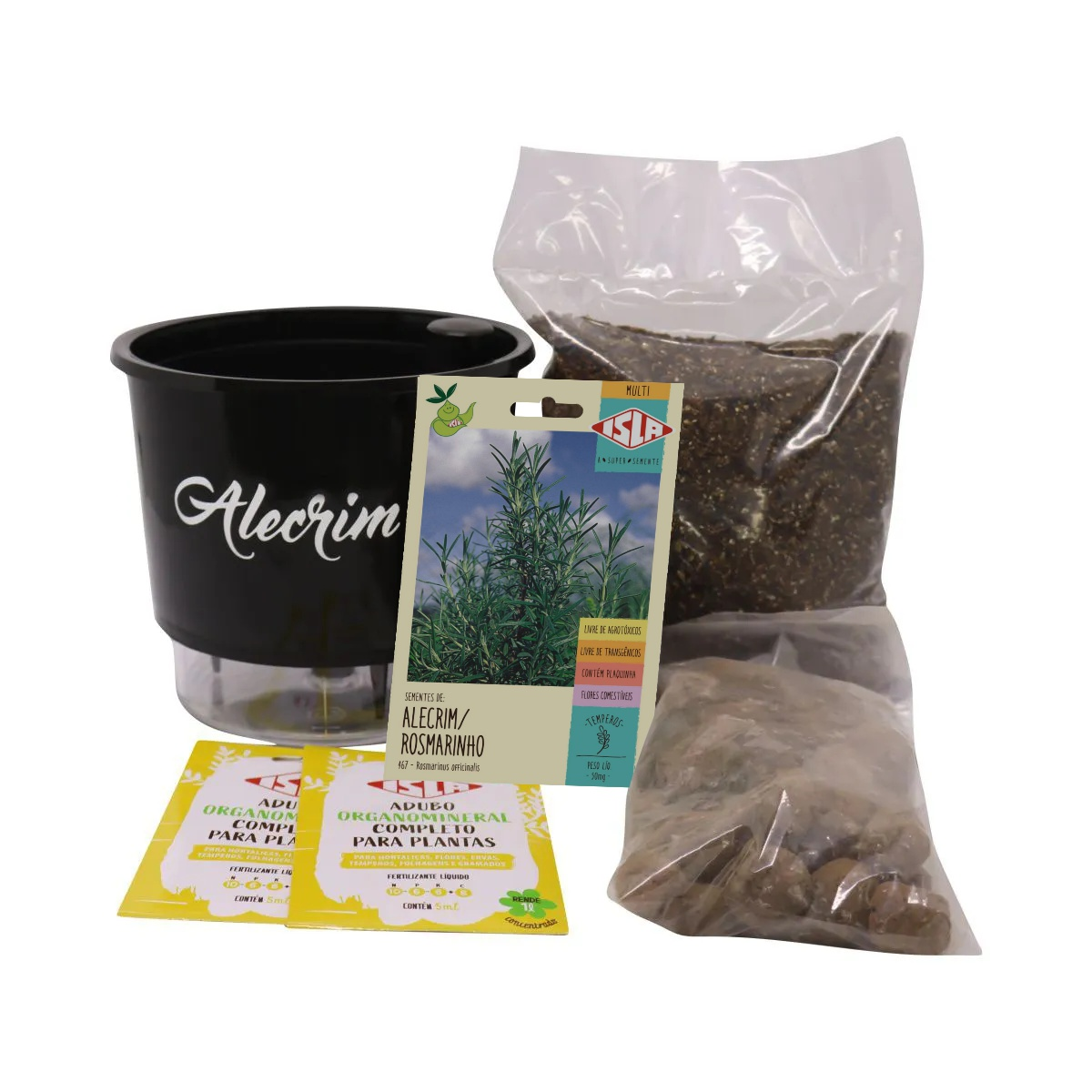 Kit Completo Inicial Preto: Meu Primeiro Plantio de Alecrim + Manual de plantio