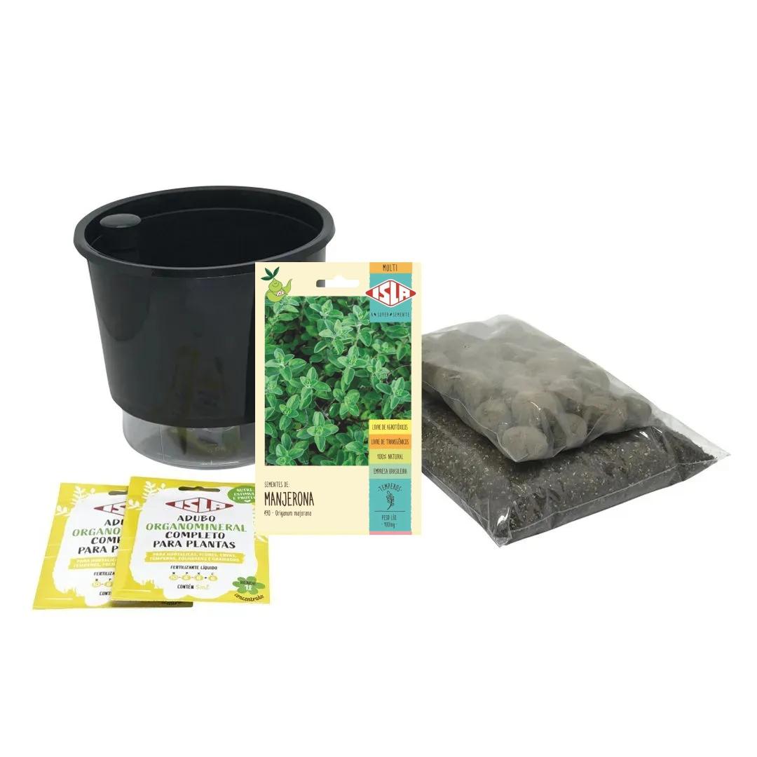 Kit Completo Inicial Preto: Meu Primeiro Plantio de Manjerona + Manual de plantio