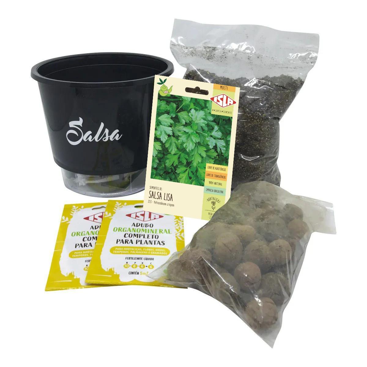 Kit Completo Inicial Preto: Meu Primeiro Plantio de Salsa + Manual de plantio