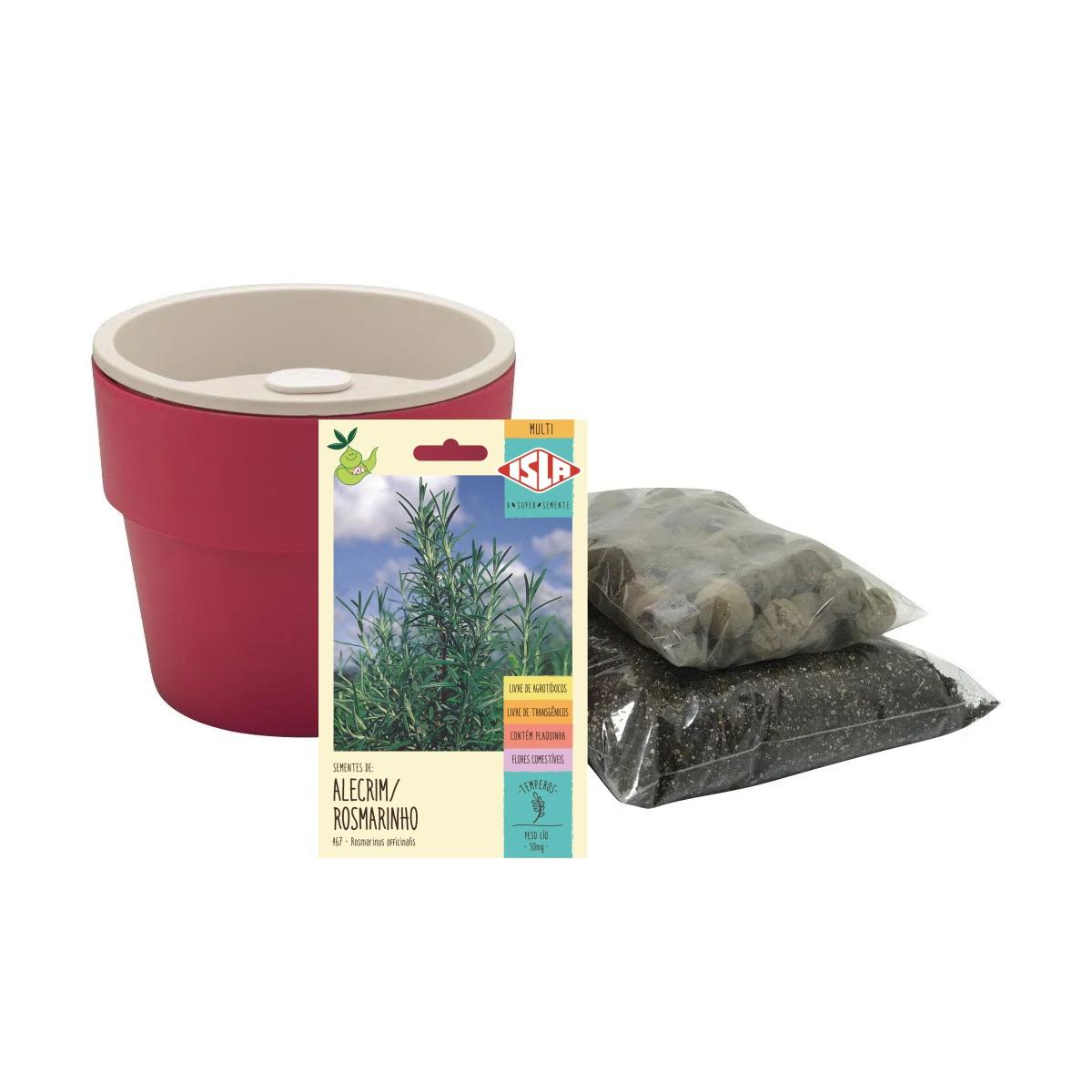 Kit completo Meu Primeiro Plantio de Alecrim com Vaso Autoirrigável Marsala Linha Plantar