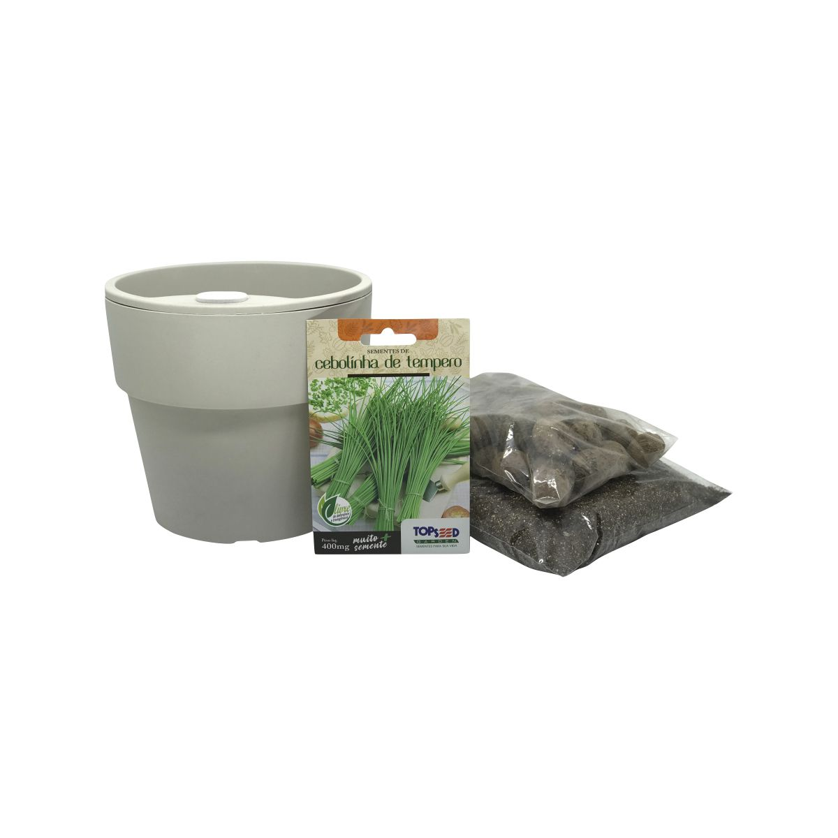 Kit completo Meu Primeiro Plantio de Cebolinha com Vaso Autoirrigável Bege Linha Plantar