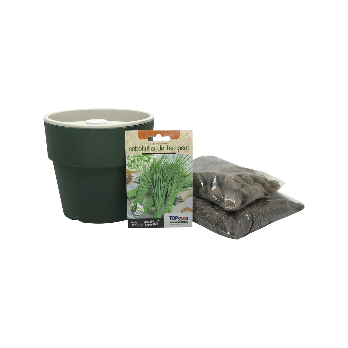 Kit completo Meu Primeiro Plantio de Cebolinha com Vaso Autoirrigável Verde Botânico Linha Plantar