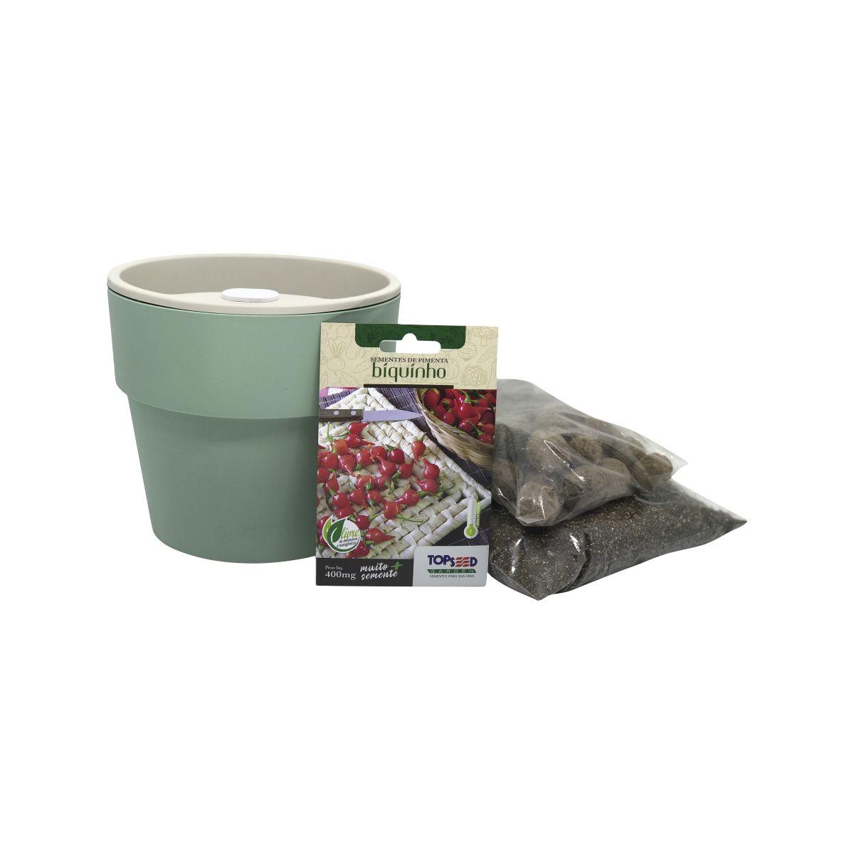 Kit completo Meu Primeiro Plantio de Pimenta Biquinho com Vaso Autoirrigável Verde Menta Linha Plantar