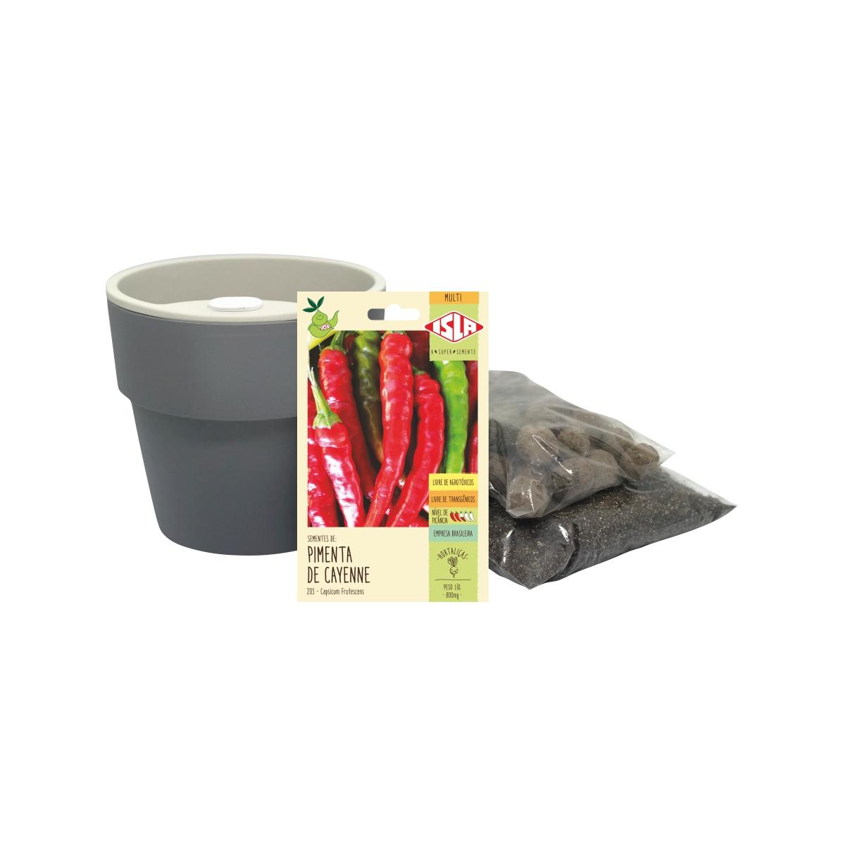 Kit completo Meu Primeiro Plantio de Pimenta Cayenne com Vaso Autoirrigável Chumbo Linha Plantar