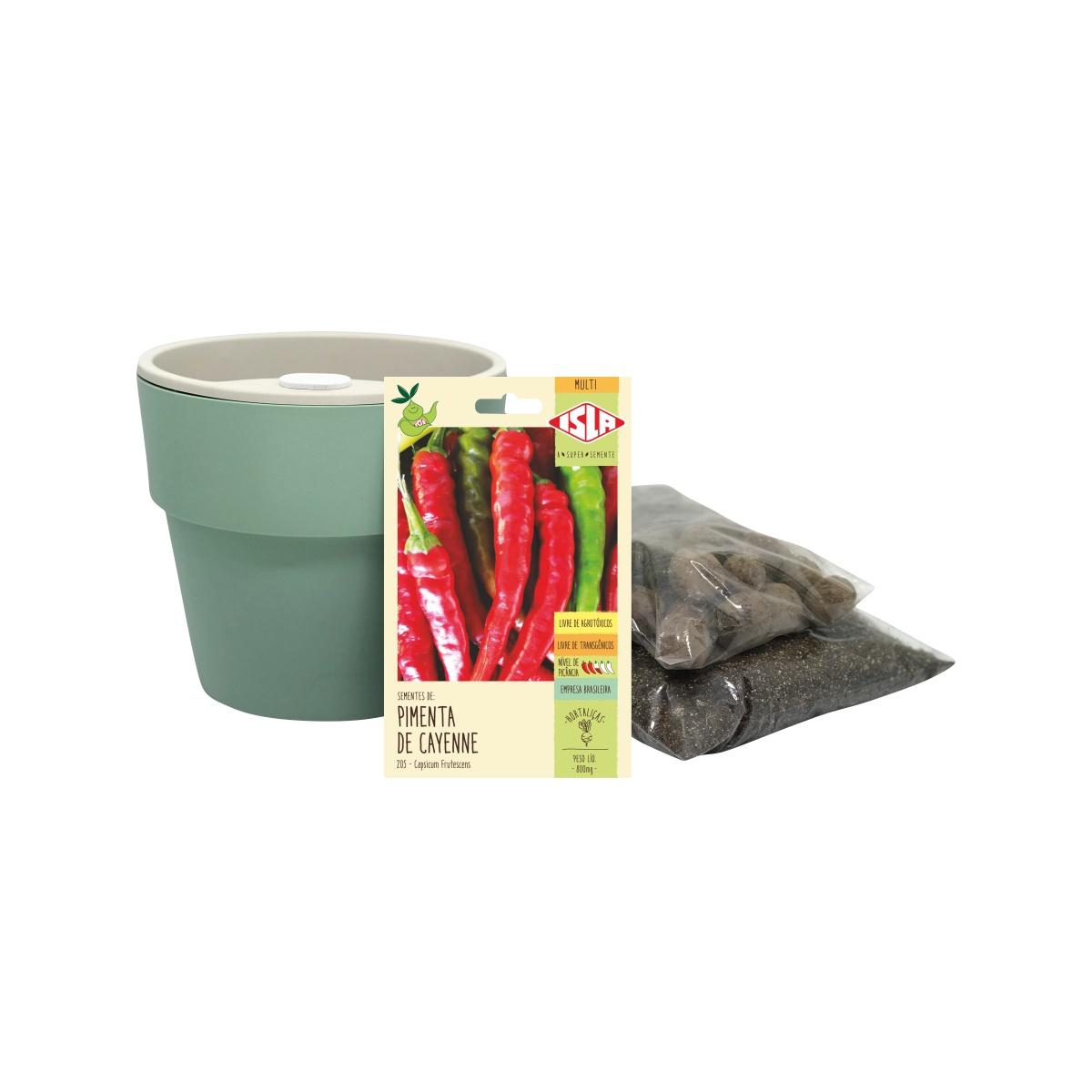 Kit completo Meu Primeiro Plantio de Pimenta Cayenne com Vaso Autoirrigável Verde Menta Linha Plantar