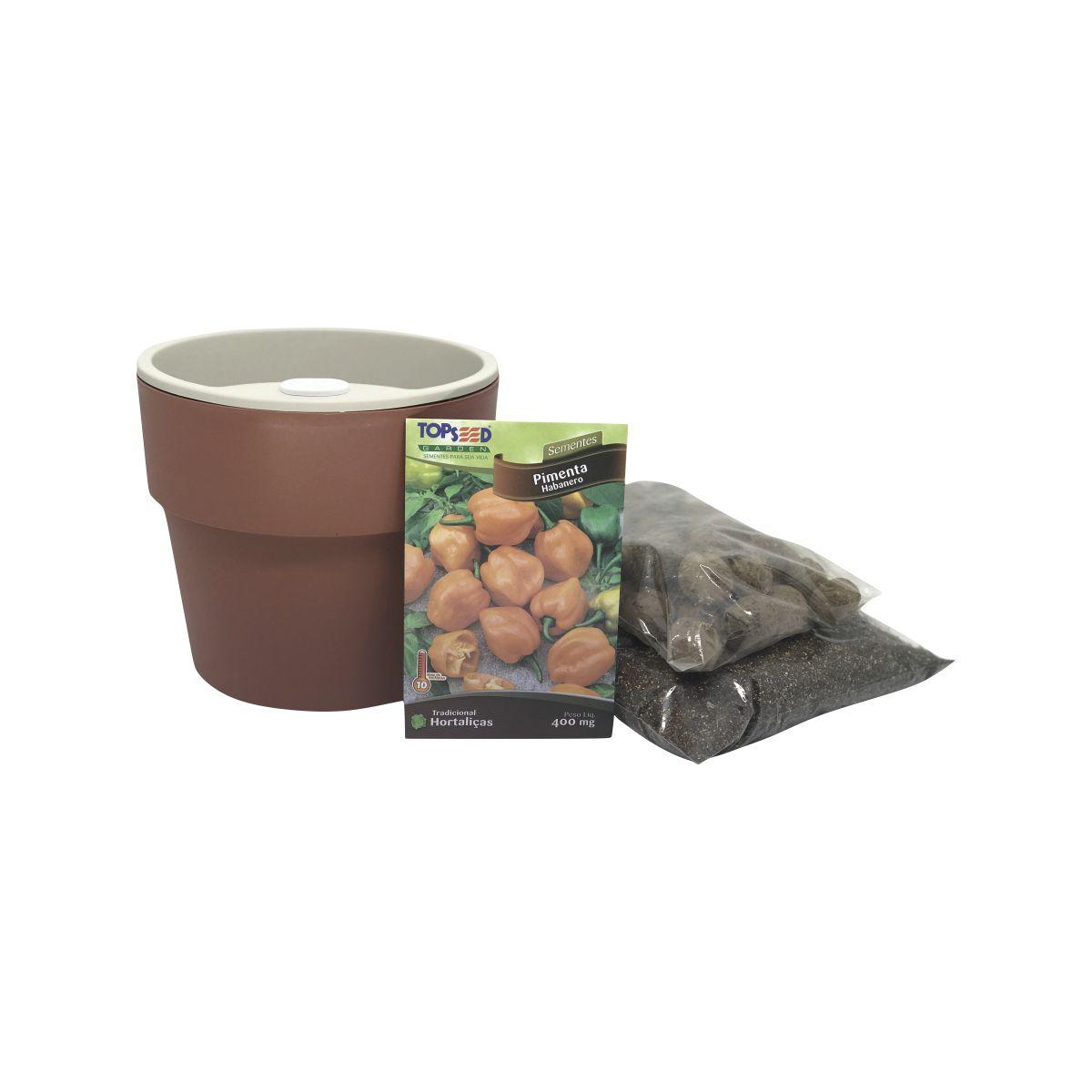Kit completo Meu Primeiro Plantio de Pimenta Habanero com Vaso Autoirrigável Terracota Linha Plantar