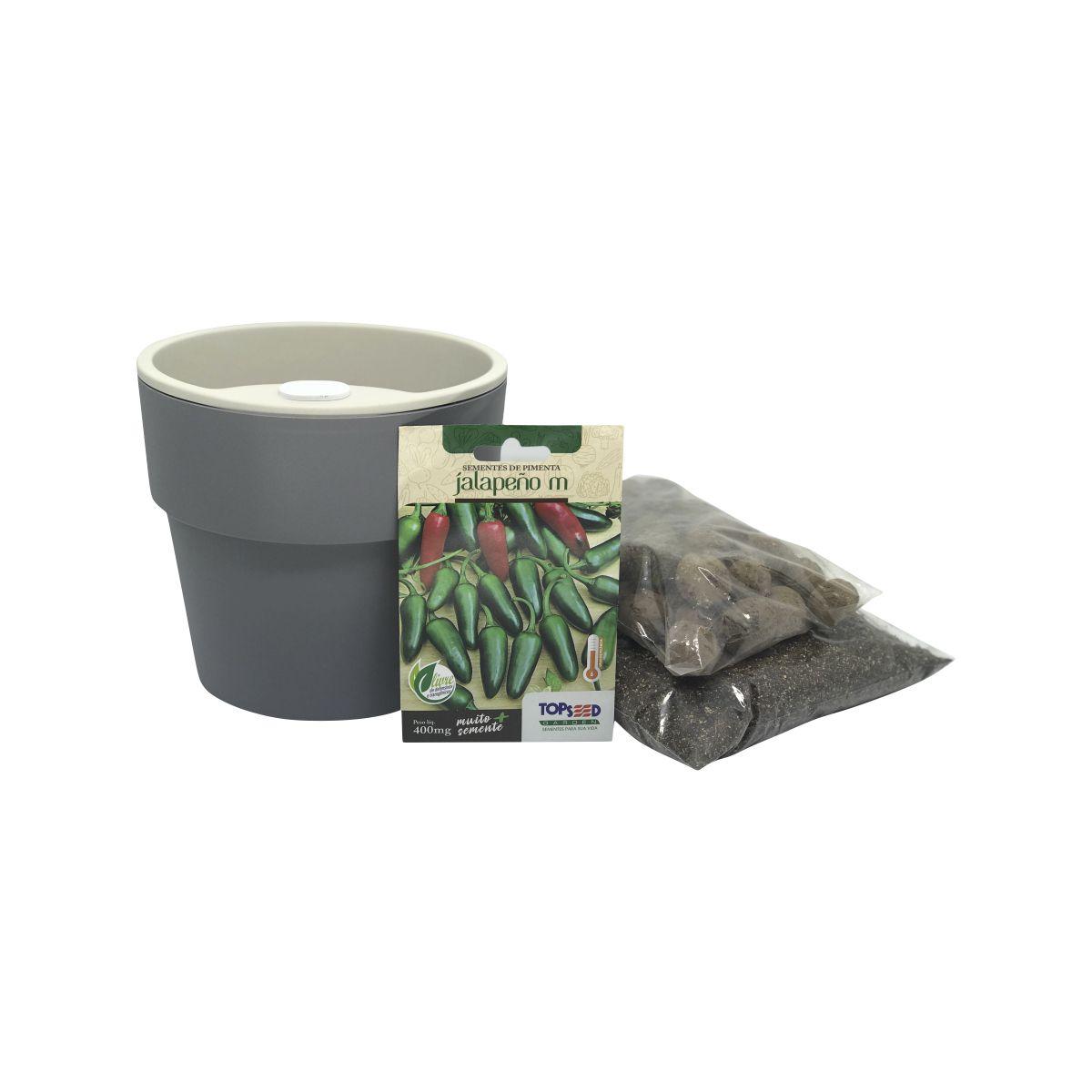 Kit completo Meu Primeiro Plantio de Pimenta Jalapeño com Vaso Autoirrigável Chumbo Linha Plantar