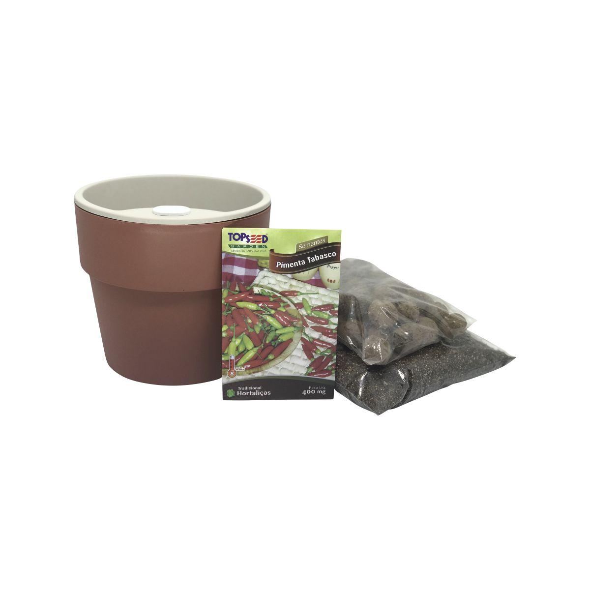 Kit completo Meu Primeiro Plantio de Pimenta Tabasco com Vaso Autoirrigável Terracota Linha Plantar
