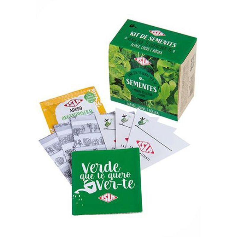 Kit de Sementes - Verde Que Te Quero Ver-te (Alface, Couve e Rúcula) Isla