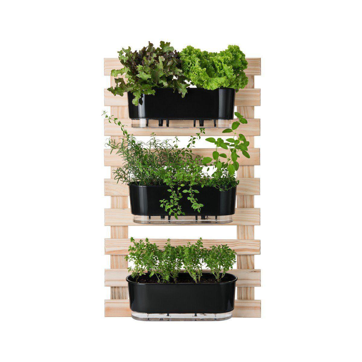 Kit Horta Vertical 100cm x 60cm com 3 Jardineiras Pretas Raiz + Suporte + Substrato + Argila