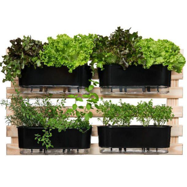 Kit Horta Vertical 60cm x 100cm com 4 Jardineiras Autoirrigáveis Raiz Preto