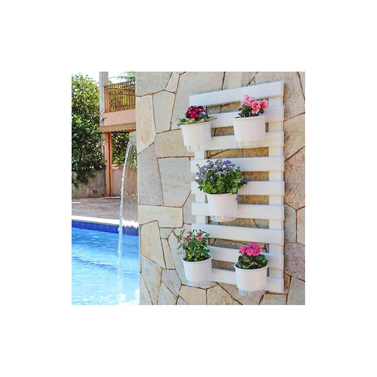 Kit Horta Vertical 100cm x 60cm cor Branca acompanha treliça + vasos + suportes + substrato