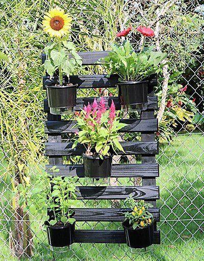 Kit Horta Vertical 100cm x 60cm Black acompanha treliça + vasos + suportes + substrato