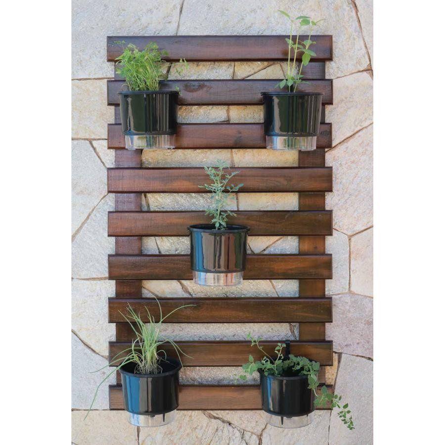 Kit Horta Vertical 100cm x 60cm cor Nogueira acompanha treliça + vasos + suportes + substrato