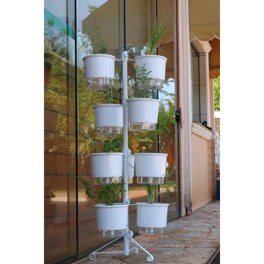 Kit Horta Vertical 10 Vasos Médios Raiz Brancos + Suporte + Substrato