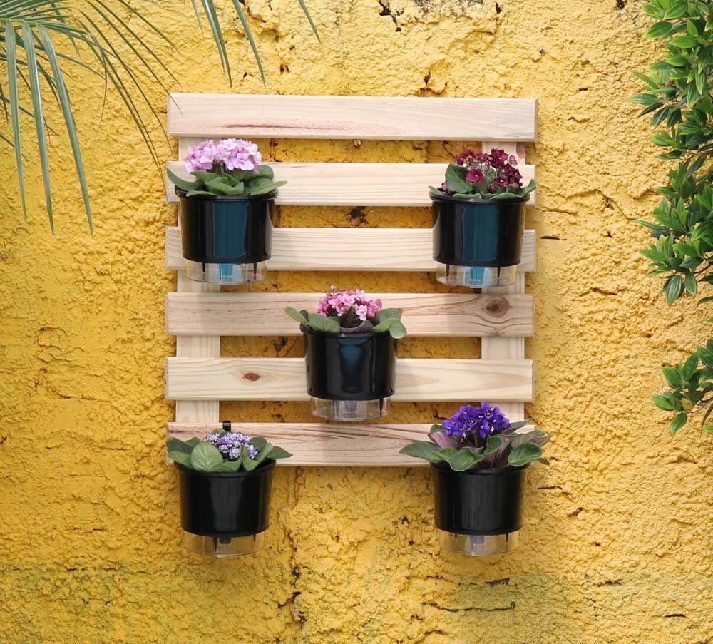 Kit Horta Vertical 60cm x 60cm acompanha treliça + vasos pretos + suportes + substrato