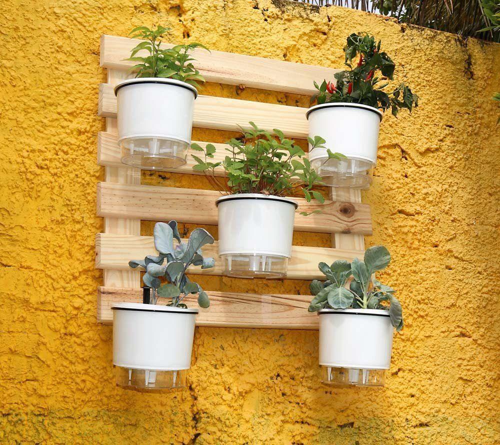 Kit Horta Vertical 60cm x 60cm acompanha treliça + vasos brancos + suportes + substrato