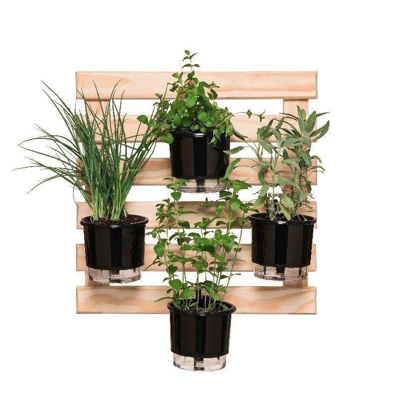 Kit Horta Vertical 60cm x 60cm com 4 Vasos Preto