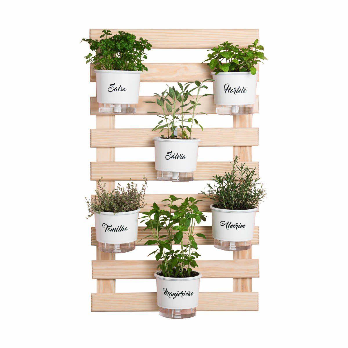 Kit Horta Vertical 6 Vasos Gourmet Branco 100cm x 60cm Acompanha: Treliça + Vasos + Suportes + Substrato + Sementes