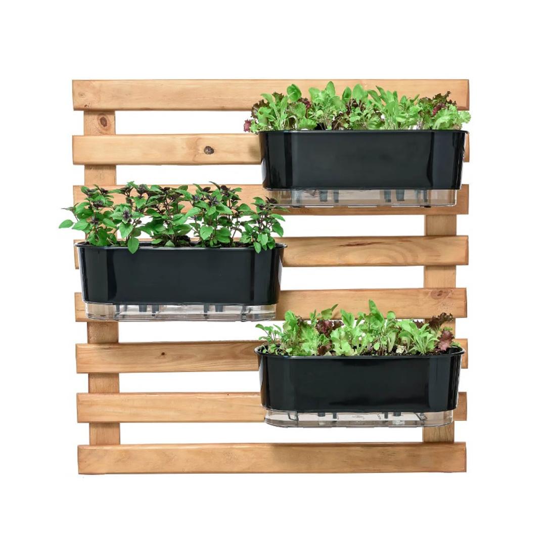 Kit Horta Vertical 80cm x 80cm rústica com 3 Jardineiras Autoirrigáveis Raiz Preto + Substrato + Argila Expandida
