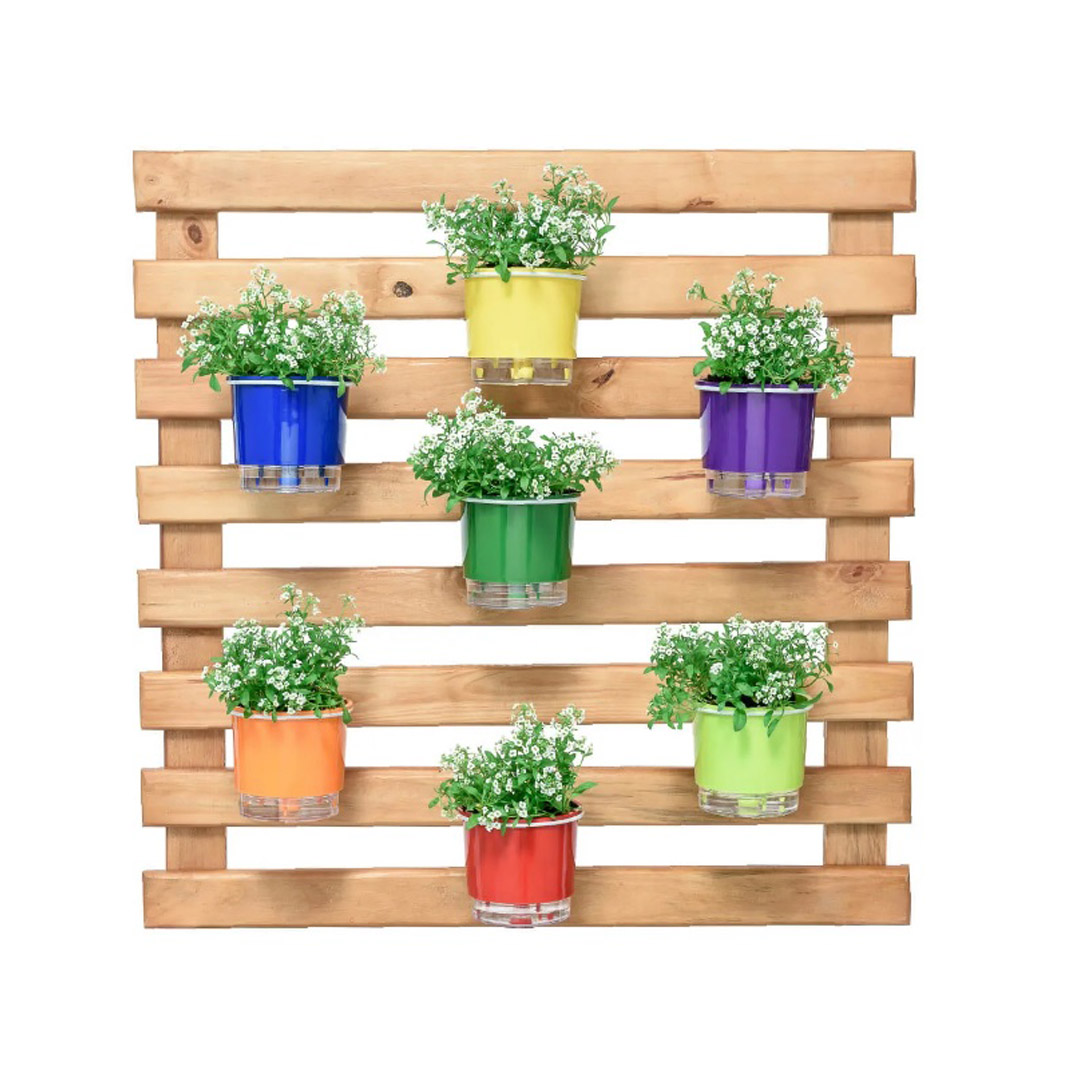 Kit Horta Vertical 80cm x 80cm rústica com 7 Vasos Autoirrigáveis N02 Rainbow