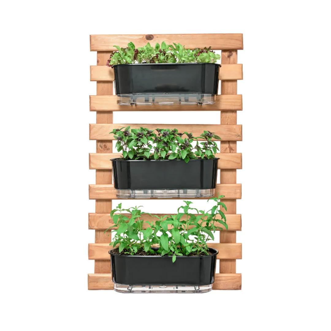 Kit Horta Vertical 100cm x 60cm rústica com 3 Jardineiras Autoirrigáveis Raiz Preto