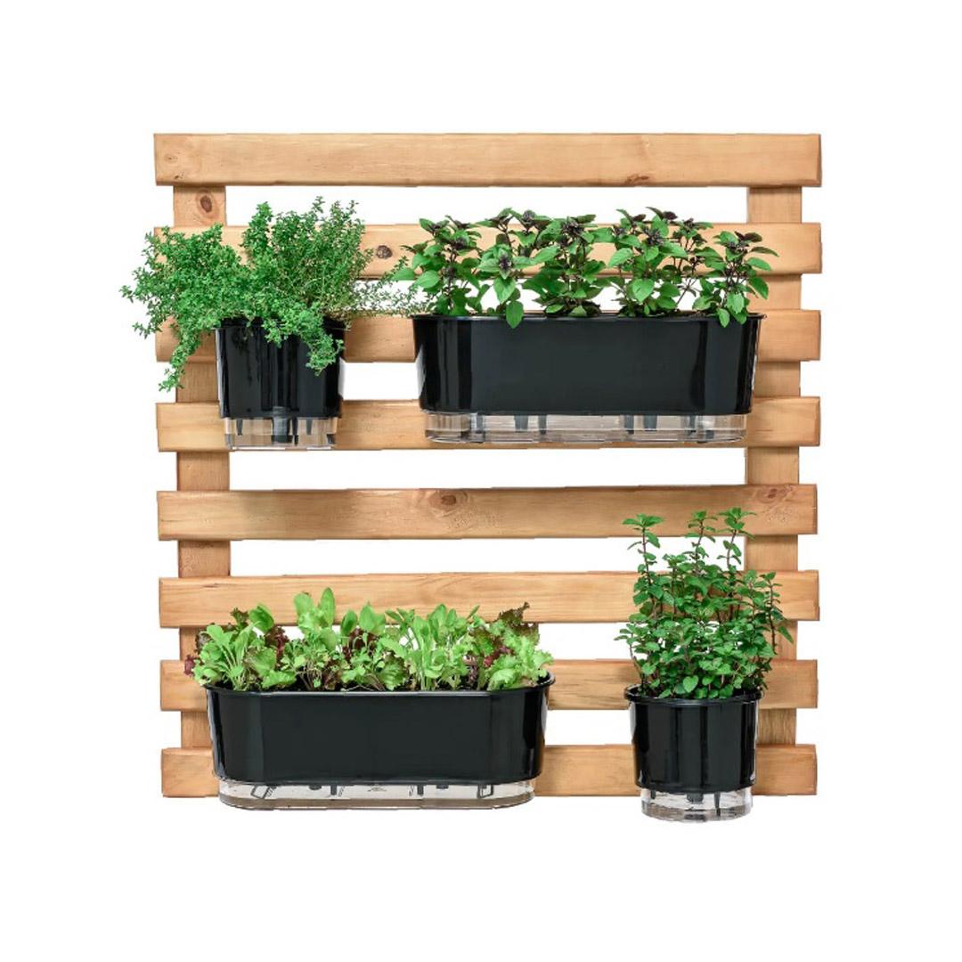 Kit Horta Vertical 80cm x 80cm rústica com 2 Jardineiras Autoirrigáveis Preto + 2 Vasos Autoirrigáveis N03 Preto + Substrato + Argila Expandida