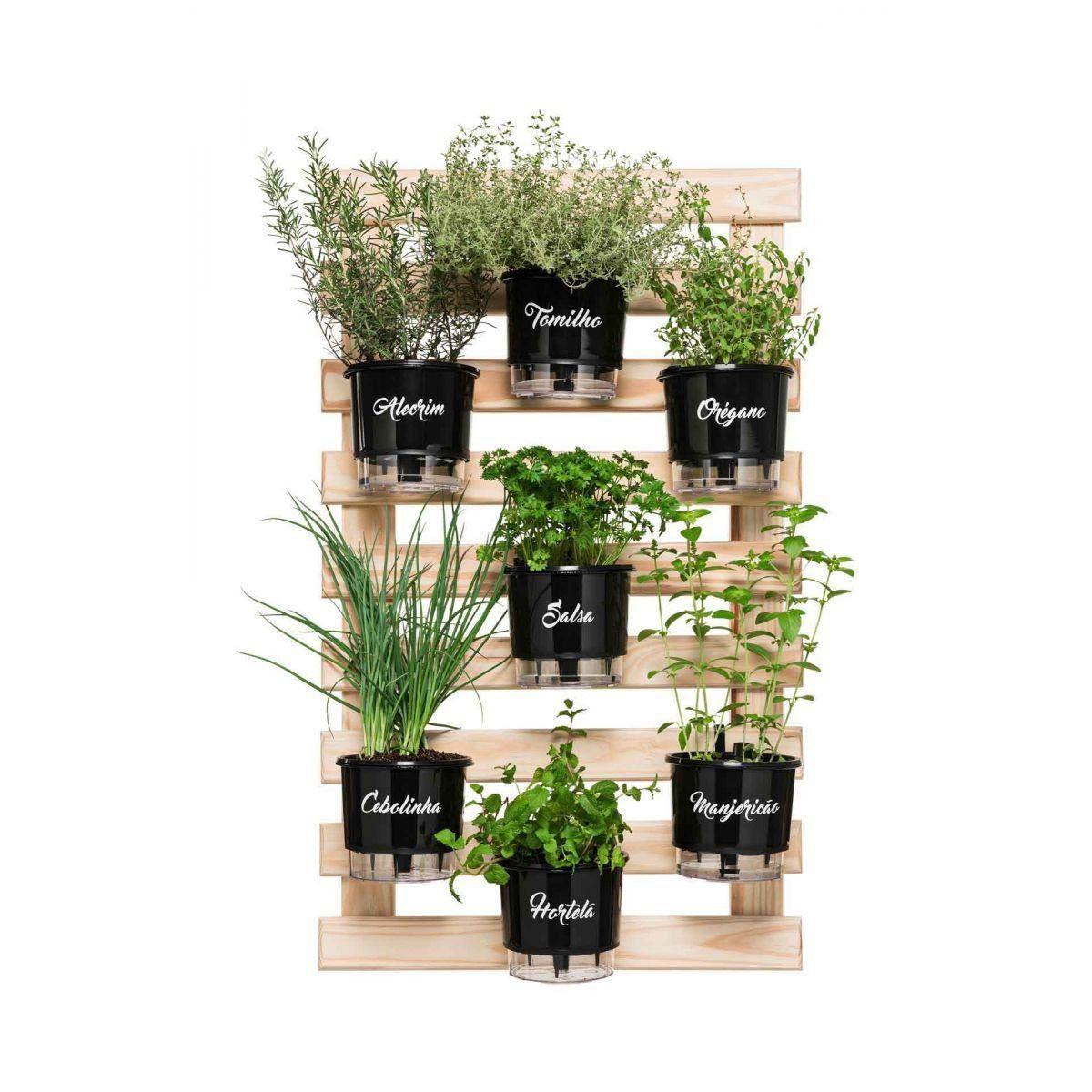 Kit Horta Vertical Gourmet 100cm x 60cm com treliça, vasos e suportes