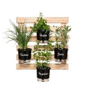 Kit Horta Vertical Gourmet 60cm x 60cm com 4 Vasos Preto Linha Gourmet
