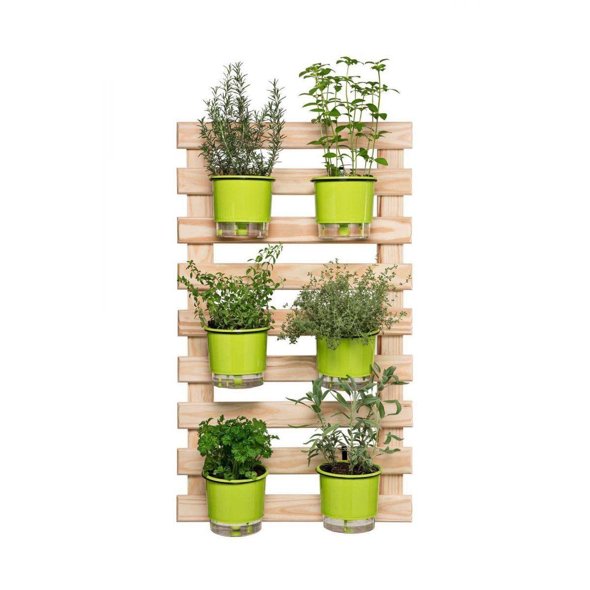 Kit Horta Vertical Green 100cm x 60cm - (Treliça + 6 Vasos + 6 Suportes)