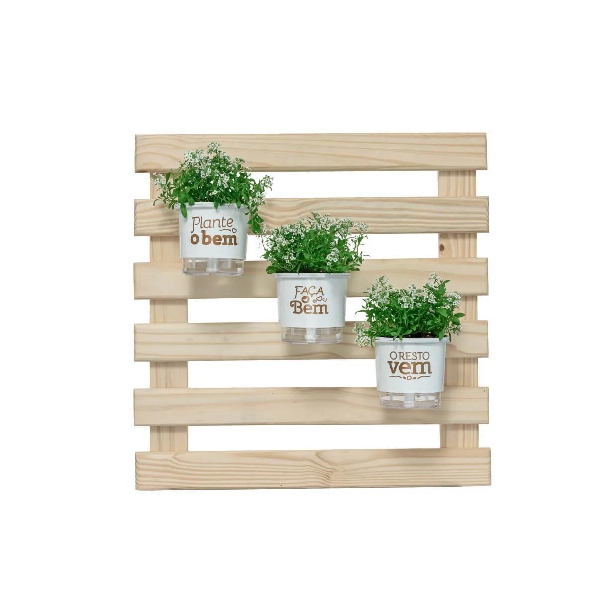Kit Jardim Vertical 60cm x 60cm Plante o Bem Branco