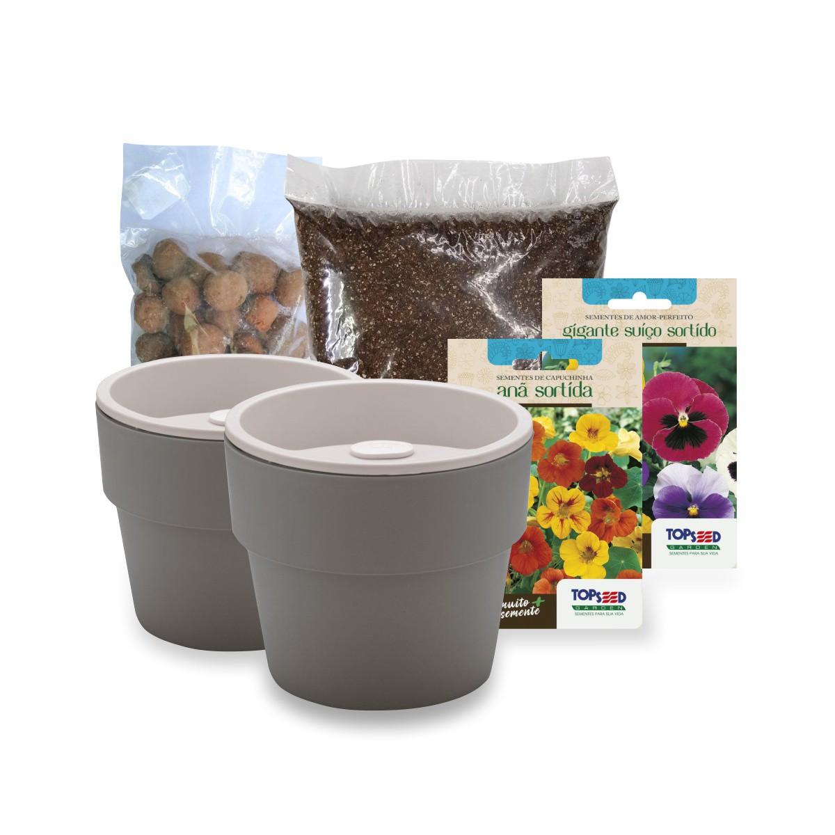 Kit Plantio de Flores Comestíveis com Vasos Linha Plantar Chumbo